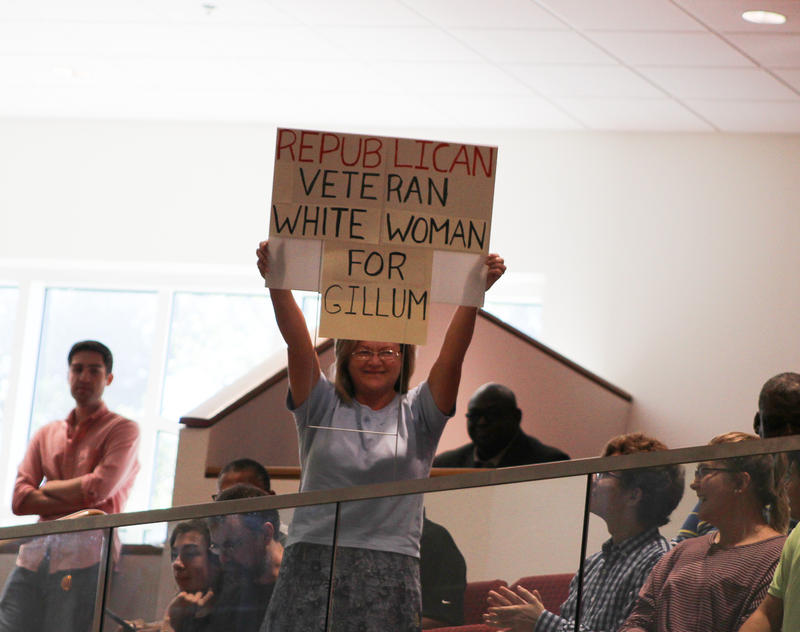 """Among the typical Gillum, one woman got attention for her sign that read """"Republican Veteran White Woman for Gillum."""""""