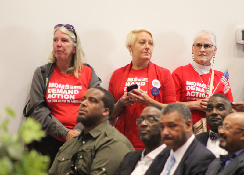 """Representatives from Moms Demand Action were there in support of Gillum. One spokesperson said he was the only candidate for """"common sense gun legislation."""""""