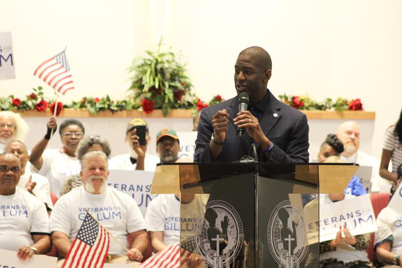 Democratic gubernatorial nominee Andrew Gillum speaks to voters at the St. John Divine Missionary Baptist Church