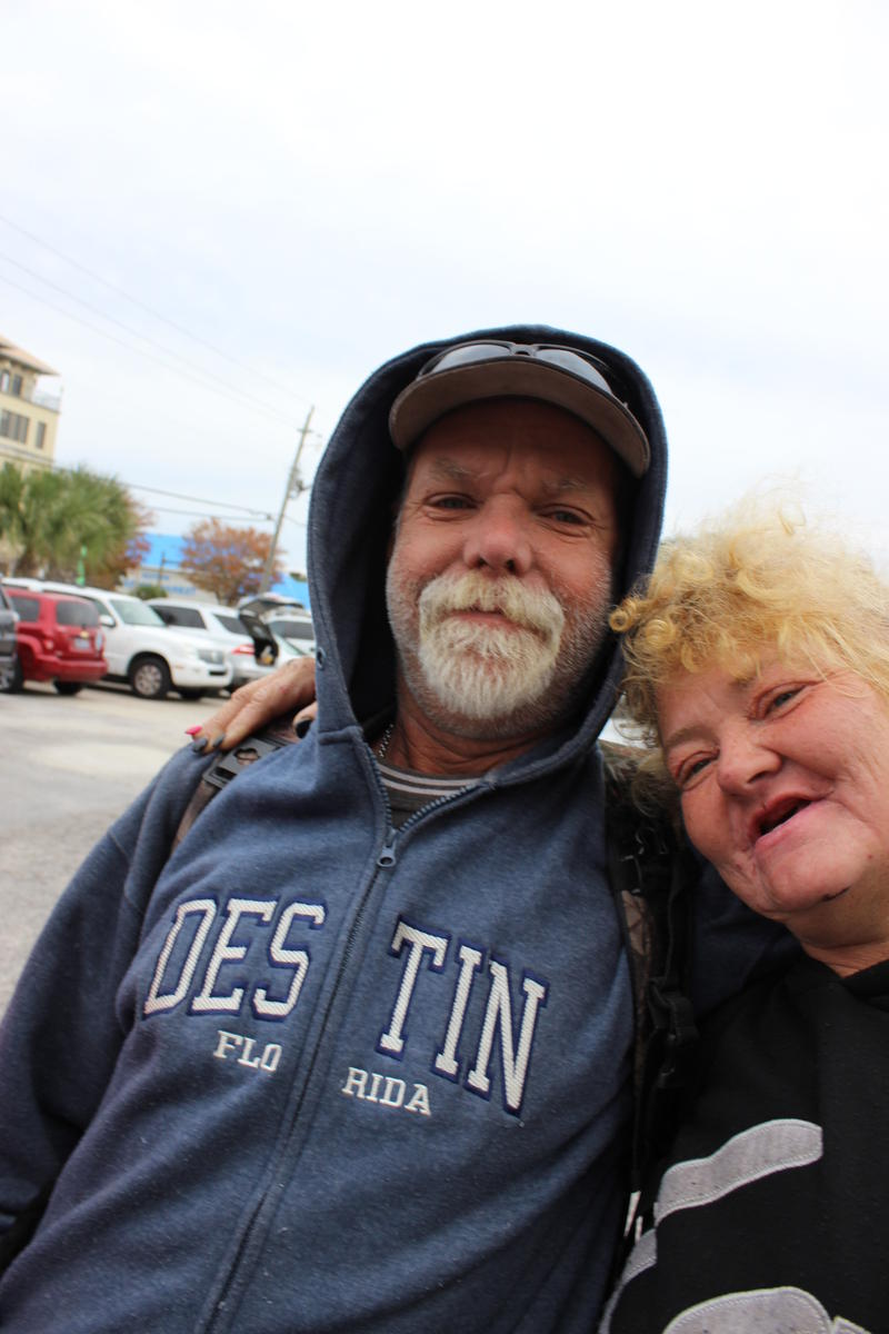 Randy Galloway and Georgia Goodin said they are grateful to come to Harbor Docks for Thanksgiving. The two friends are homeless and sleep outside, they said.