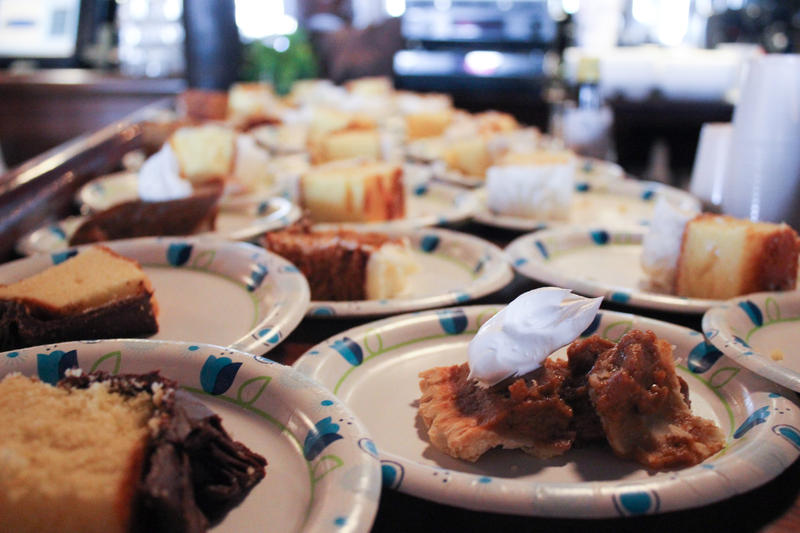 Thanksgiving sweets are lined up waiting for serving.