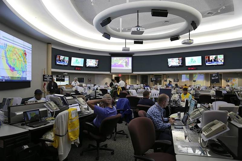 Staff at the Escambia County Emergency Operations Center monitor a storm during the 2018 hurricane season.