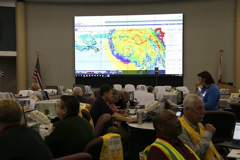 Preparations for Hurricane Michael at the Escambia EOC .