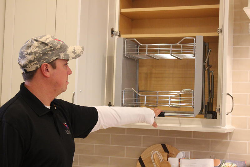 Contractors working with the Gary Sinise Foundation worked with Dove to create a home that would fit his needs and make daily tasks easier. Dove primarily uses a wheelchair at home.