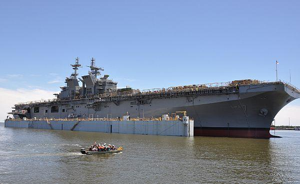 On May 1, 2017, the future USS Tripoli (LHA 7) is launched at Huntington Ingalls Industries, Pascagoula, Miss. Tripoli was successfully launched after the dry-dock was flooded to allow it to float off for the first time.