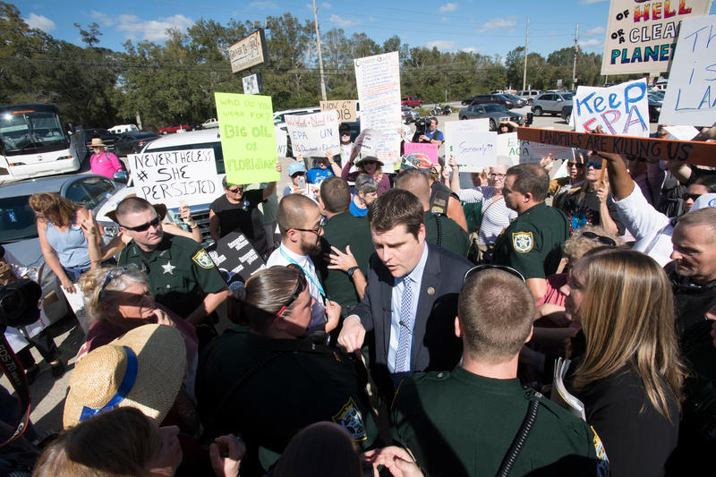 Congressman Matt Gaetz speaks with people while ariving for the Barbecue Briefing at Grover T's BBQ Restaurant Thursday February 23, 2017 in Milton, Florida.