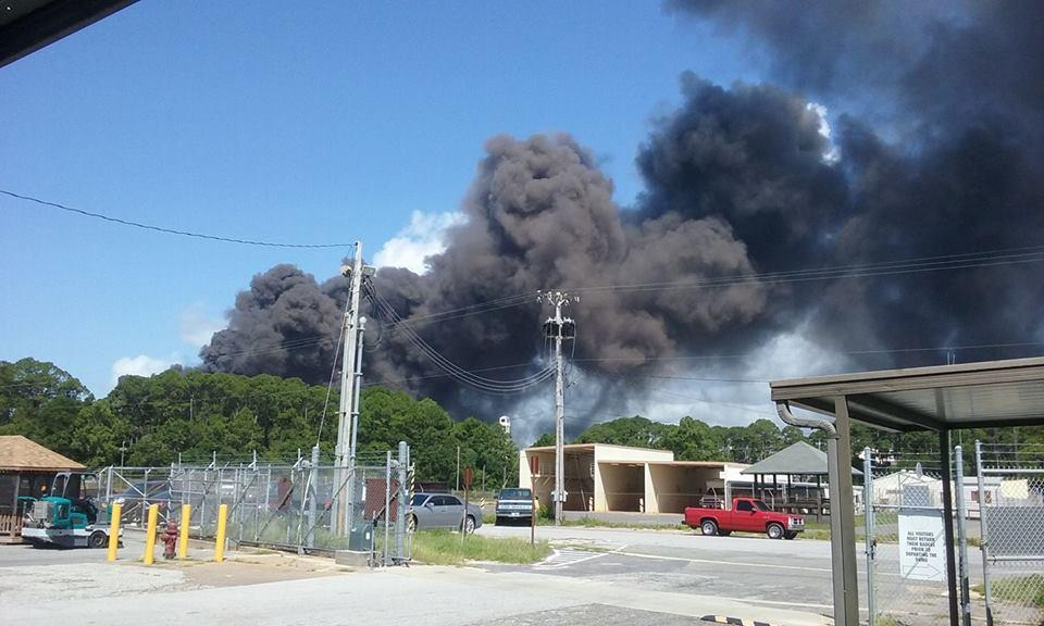 Explosion near Eglins's climate lab sends plume of smoke into air