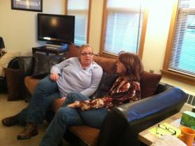 Therapist Kathy Anderson, left, and client Claudia Stetz, right, relax at Veteran Quest in West Allis.