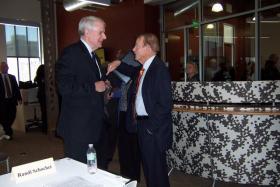 Milwaukee Mayor Tom Barrett (left) discusses partnership with community leaders.