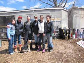 Kompost Kids team - Melissa Tashjian second from right - on compost pile maintenance day.