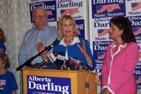 State Sen. Alberta Darling is flanked by Congressman Jim Sensenbrenner (left) and state Sen. Leah Vukmir (right).