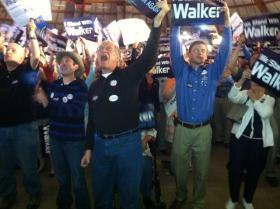 Hundreds gather in Waukesha for Scott Walker's victory rally.