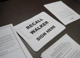 Recall petitions and other papers lined the tables at the recall campaign headquarters on Milwaukee's northwest side.