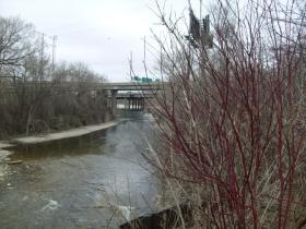 Concrete channel liner along Menomonee River near Miller Park.