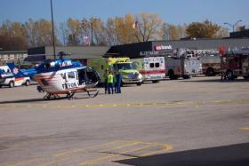 The Flight for Life helicopter was among many emergency vehicles at the scene.