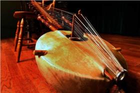 A kora is a 22-string harp-lute used in traditional music in West Africa.