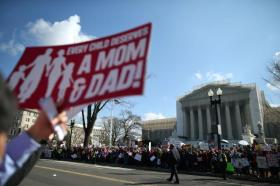 Supreme Court Hears Arguments On California's Prop 8 And Defense Of Marriage Act.