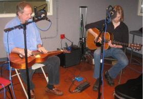 Peter Roller and Matt Schroeder in Lake Effect's performance studio.