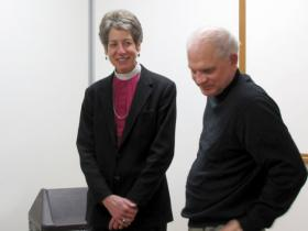 Bishop Katharine Jefferts Schori chats with associate dean of research Val Klump at School of Freshwater Sciences.