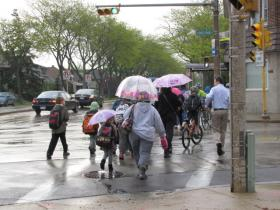 a wet walk - and bike - to school in Bay View