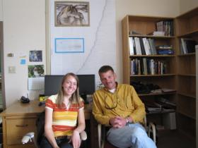 UW wildlife biologist Tim Van Deelen (right) and PhD student Jennifer Stenglein designed a tool that gauges the impact of harvesting on the long term stability of Wisconsin's wolf population.