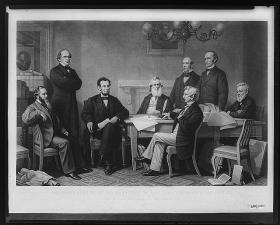 """The first reading of the Emancipation Proclamation before the cabinet,"" painted by F.B. Carpenter and engraved by A.H. Ritchie"