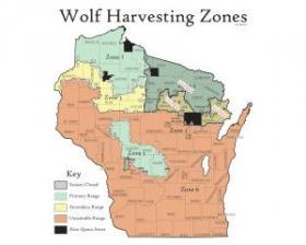 The map of permitted wolf harvesting zones in Wisconsin.