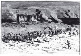 The Confederates' charge on East Cemetery Hill on the second day of battle at Gettysburg.