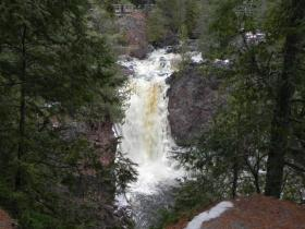 Brownstone Falls is situated below the proposed mine in Copper Falls State Park.