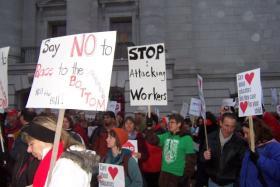 Protestors at state Capitol.