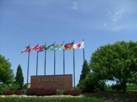 Flags of several countries wave above the Lake Park Corporate Park in Pleasant Prairie in Kenosha County.