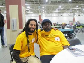 Sundiata Ameh-El (left) and fellow member of the Tallahassee Food Network were among 1500 attendees at the Growing Power urban and small farm conference