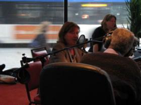 Stephanie Sue Stein talks with Bob Bach. Ann-Elise Henzl, Project Milwaukee Executive Producer, in background.