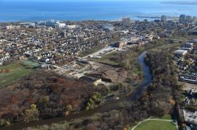 An aerial view of the future Rotary Centennial Arboretum.