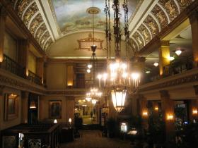 The ghost of hotel founder Charles Pfister (invisible, at left) is said by many to look over the hotel's guests.