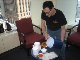 Steve Perlstein serves up some of his tomato basil soup on the Lake Effect lanai.
