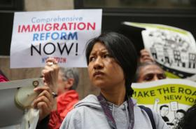 Immigration activists demonstrate in front of detention center In New York.