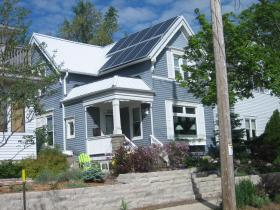 Nine solar panels on the front of Paula Papanek's Bay View home; three more toward the back