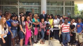 Mayor Barrett spoke to interns before they began their first day of work