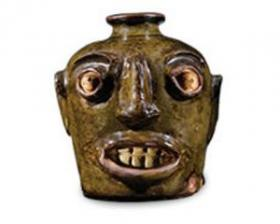 Face Jug, Miles Mill Pottery, Edgefield, SC, 1862-70. Chipstone Foundation.