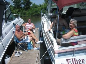 Meyers and Rosyneks now spend summer weekends tethered to their boat