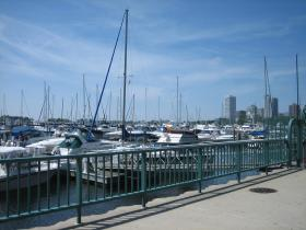 People live aboard some of these boats at the marina, during Milwaukee's summer months