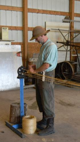 Old World Wisconsin interpreter  Dirk Hildebrandt demonstrates how our ancestors made a key piece of farm equipment.