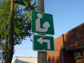 A sign points the way to the Villard Square library on Milwaukee's north side