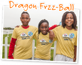 """MSFTS,"" students and friends of Dawson Elementary School in Jackson, Miss., invented the group game winner, Dragon Frzz-Ball."