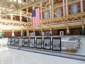 Pictures of the slain Sikh members on display in the courthouse.