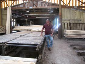 Bob Wesp outside his sawmill.