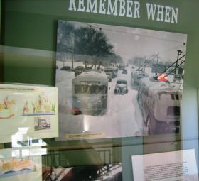 An exhibit at the Milwaukee Transit Museum shows trackless trolleys coping with the aftermath of a blizzard decades ago.
