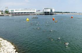 Many, but not all, triathletes choose to wear wet suits for the swimming competition.