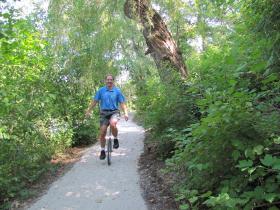 Ken Leinbach tests the trail.